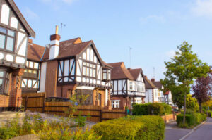 Nice houses in Woodford, Essex in the early morning sunlight